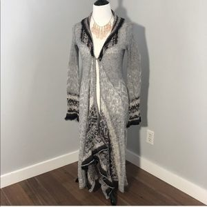 Free People   Long Gray Duster Cardigan Sweater